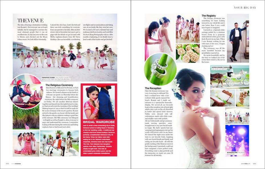 destination wedding in a magazine
