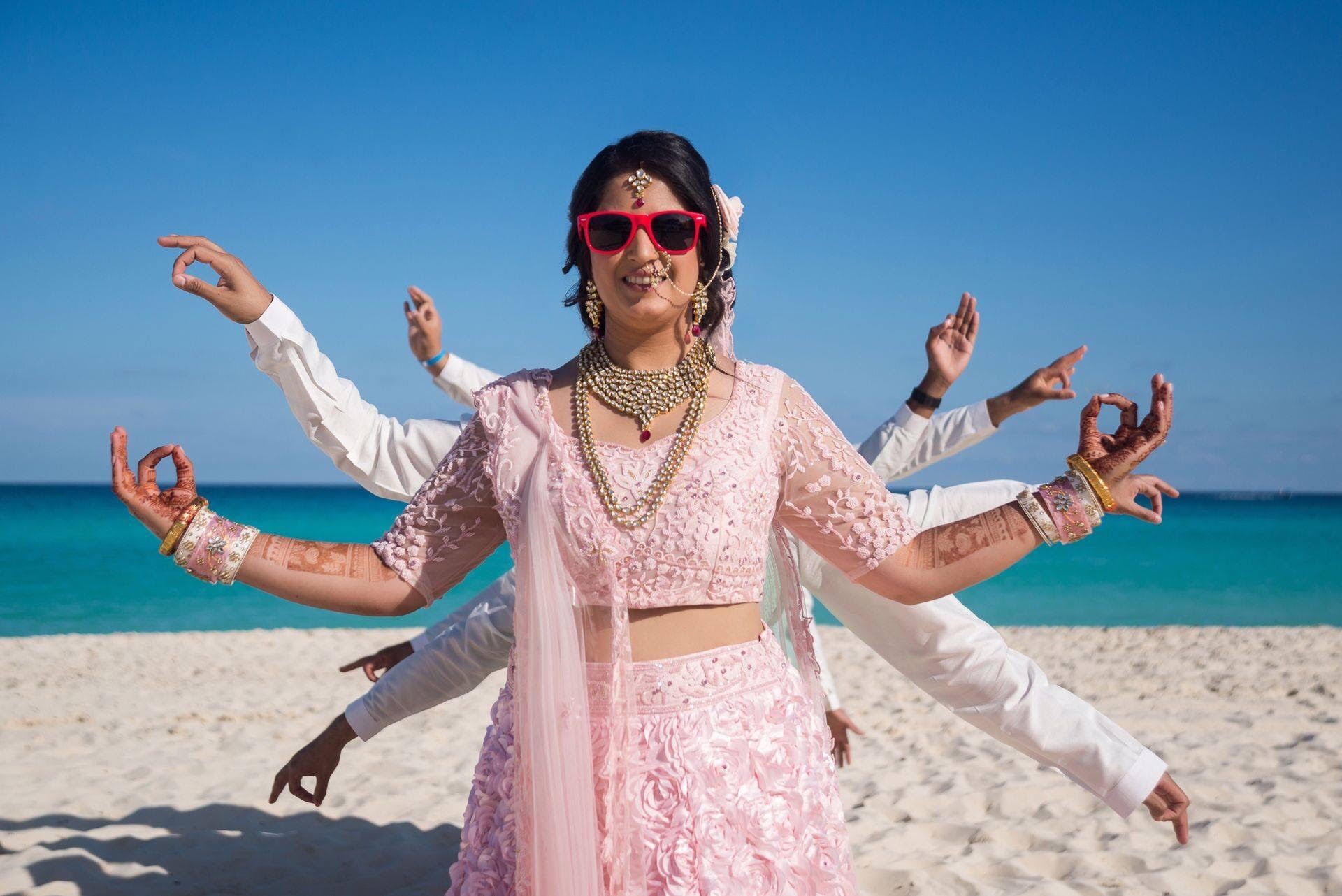 indian beach wedding photography and videography packages in cancun mexico by Latin Asia