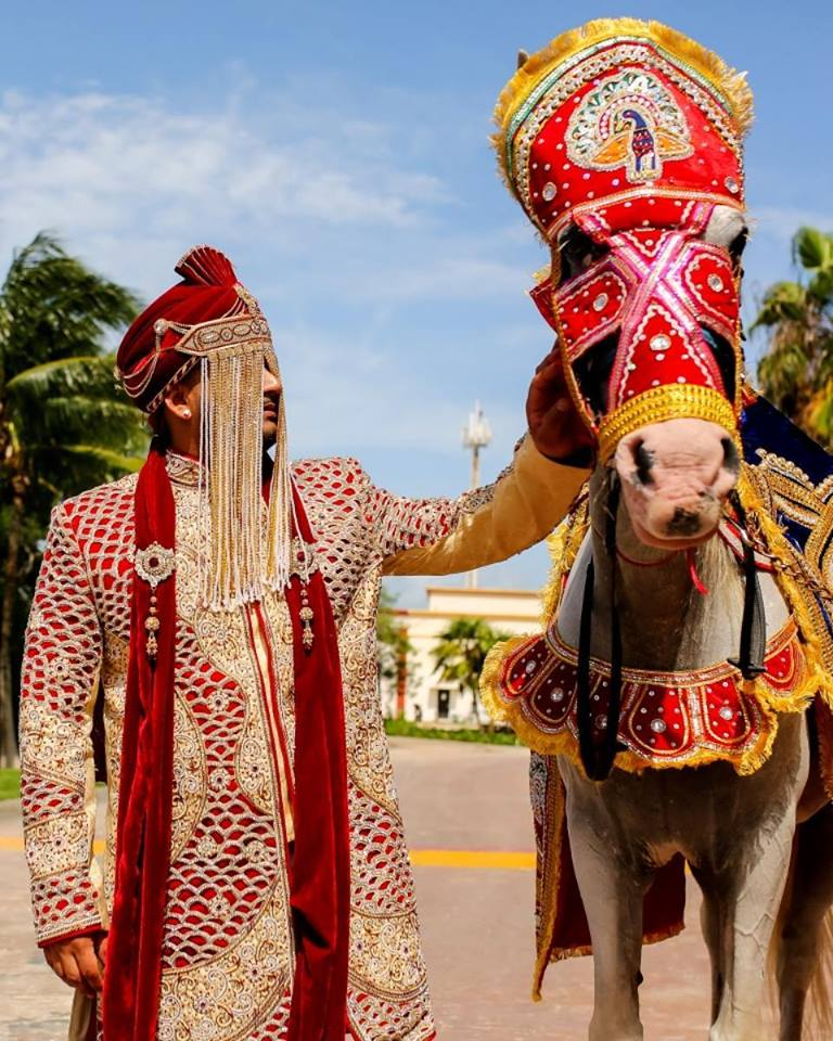 wedding packages in cancun Mexico with baraat entrance with horse by Latin Asia one stop solution