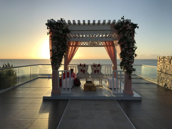 sky deck indian wedding ceremony set up mexico