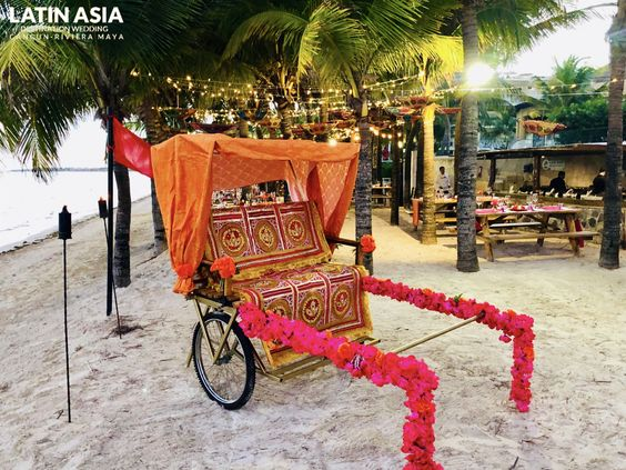 rickshaw for indian sangeet package at azul beach mexico