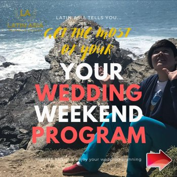 Wedding events flow in a weekend program
